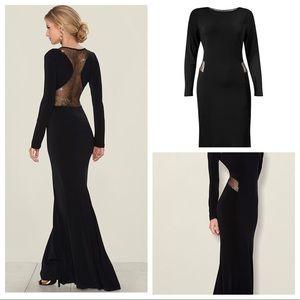 Black long dress w gold Mesh cut outs (worn ONCE)